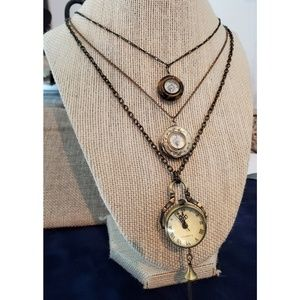 Set of Vintage Clock and Compass necklaces
